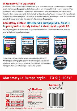 Tył okładki książki/ebooka Matematyka Europejczyka. Zbiór zadań dla gimnazjum. Klasa 3