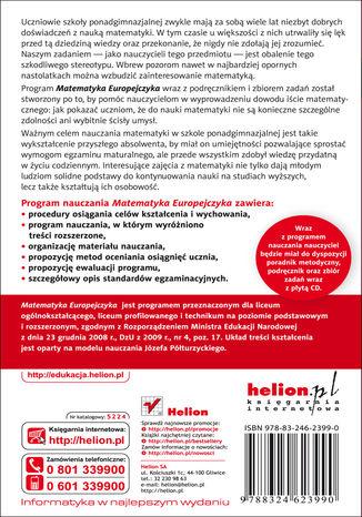 Tył okładki książki/ebooka Matematyka Europejczyka. Program nauczania matematyki w szkołach ponadgimnazjalnych