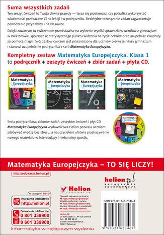 Tył okładki książki/ebooka Matematyka Europejczyka. Zeszyt ćwiczeń dla gimnazjum. Klasa 1. Część 1