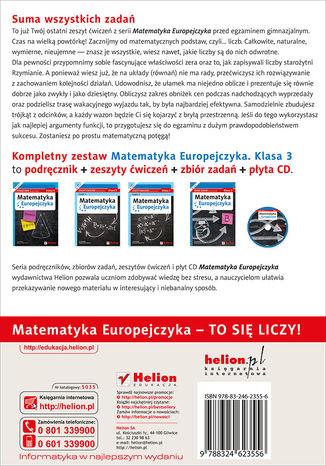 Tył okładki książki/ebooka Matematyka Europejczyka. Zeszyt ćwiczeń dla gimnazjum. Klasa 3. Część 2