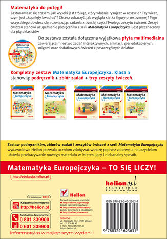 Tył okładki książki/ebooka Matematyka Europejczyka. Zeszyt ćwiczeń dla szkoły podstawowej. Klasa 5. Część 3