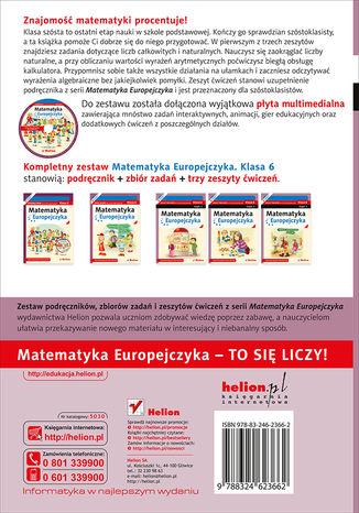 Tył okładki książki/ebooka Matematyka Europejczyka. Zeszyt ćwiczeń dla szkoły podstawowej. Klasa 6. Część 1