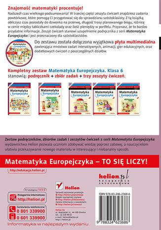 Tył okładki książki/ebooka Matematyka Europejczyka. Zeszyt ćwiczeń dla szkoły podstawowej. Klasa 6. Część 3