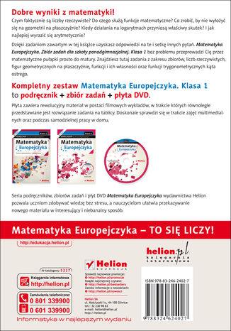 Tył okładki książki/ebooka Matematyka Europejczyka. Zbiór zadań dla szkół ponadgimnazjalnych. Klasa 1