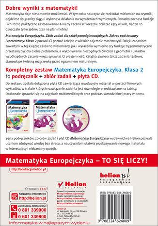 Tył okładki książki/ebooka Matematyka Europejczyka. Zbiór zadań dla szkół ponadgimnazjalnych. Zakres podstawowy i rozszerzony. Klasa 2