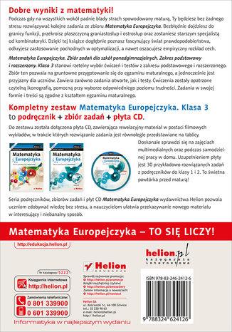 Tył okładki książki/ebooka Matematyka Europejczyka. Zbiór zadań dla szkół ponadgimnazjalnych. Zakres podstawowy i rozszerzony. Klasa 3