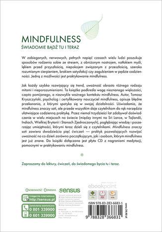 Tył okładki książki/ebooka Mindfulness znaczy sati. 25 ćwiczeń rozwijających mindfulness