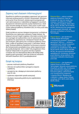 Tył okładki książki/ebooka Microsoft SharePoint 2013 PL. Architektura i skuteczne rozwiązania