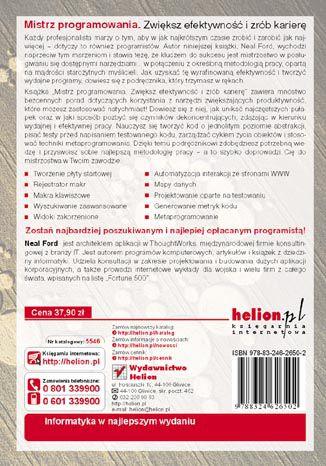 Tył okładki książki/ebooka Mistrz programowania. Zwiększ efektywność i zrób karierę