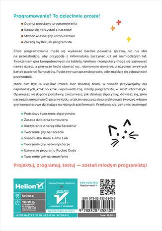 Tył okładki książki/ebooka Dzieciaki na start! Programowanie dla najmłodszych