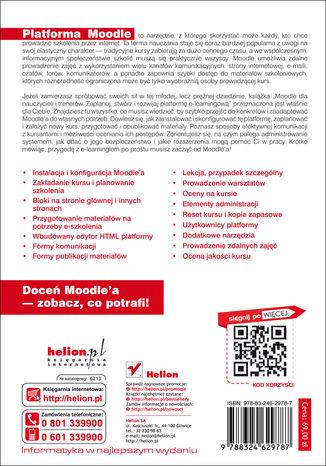 Tył okładki książki/ebooka Moodle dla nauczycieli i trenerów. Zaplanuj, stwórz i rozwijaj platformę e-learningową