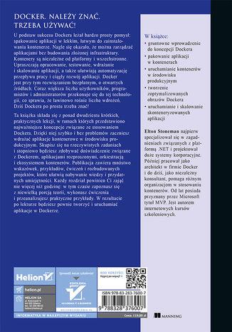 Tył okładki książki/ebooka Nauka Dockera w miesiąc