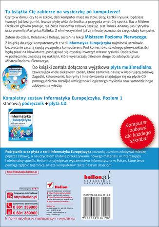 Tył okładki książki/ebooka Informatyka Europejczyka. Nauka i zabawa z komputerem w edukacji wczesnoszkolnej. Poziom 1 (Wydanie II)