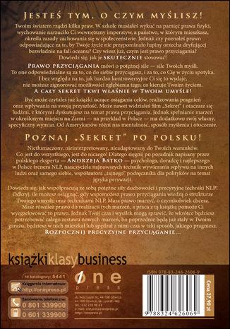 Tył okładki książki/ebooka Siła Sekretu. Praktyczny poradnik programowania przyszłości