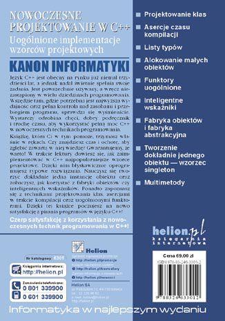 Tył okładki książki/ebooka Nowoczesne projektowanie w C++. Uogólnione implementacje wzorców projektowych