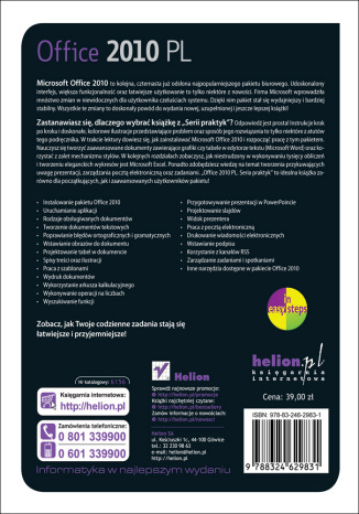 Tył okładki książki/ebooka Office 2010 PL. Seria praktyk