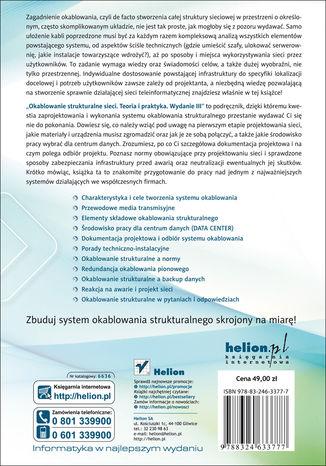 Tył okładki książki/ebooka Okablowanie strukturalne sieci. Teoria i praktyka. Wydanie III