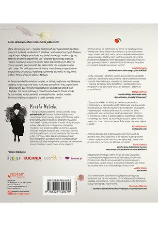 Tył okładki książki/ebooka Opowiadania drewnianego stołu. 125 przepisów, jak sprawić przyjemność sobie i bliskim