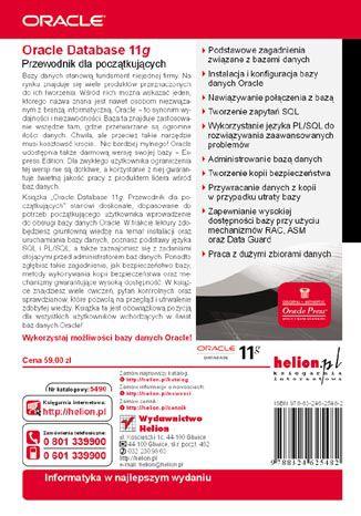 Tył okładki książki/ebooka Oracle Database 11g. Przewodnik dla początkujących