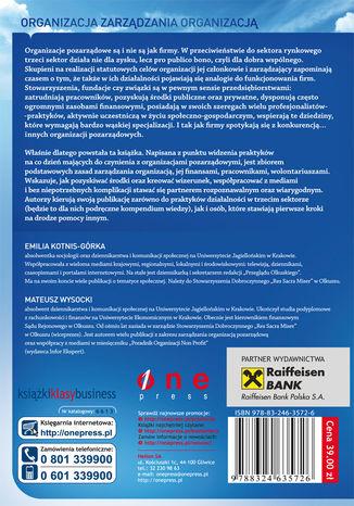 Tył okładki książki/ebooka Organizacje pozarządowe. Zarządzanie, kreowanie wizerunku i współpraca z mediami w III sektorze