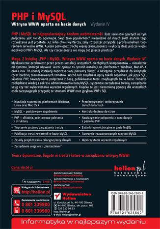 Tył okładki książki/ebooka PHP i MySQL. Witryna WWW oparta na bazie danych. Wydanie IV