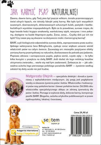 Tył okładki książki/ebooka Pies na diecie BARF. Zdrowe i naturalne jedzenie dla Twojego pupila