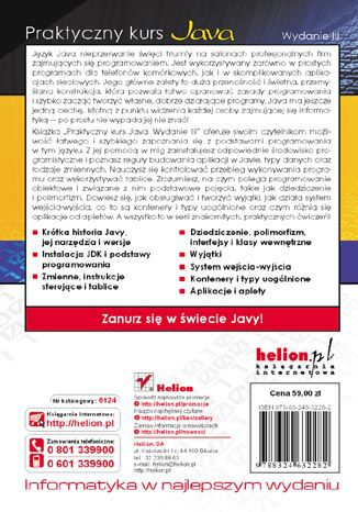 Tył okładki książki/ebooka Praktyczny kurs Java. Wydanie III