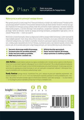 Tył okładki książki/ebooka Plan B. Otwórz się na nowe, lepsze perspektywy dla Twojego biznesu