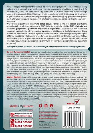 Tył okładki książki/ebooka PMO. Praktyka zarządzania projektami i portfelem projektów w organizacji