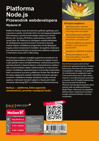 Tył okładki książki/ebooka Platforma Node.js. Przewodnik webdevelopera. Wydanie III