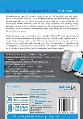 Tył okładki książki/ebooka Podstawy obsługi komputera. Ilustrowany przewodnik. Wydanie III