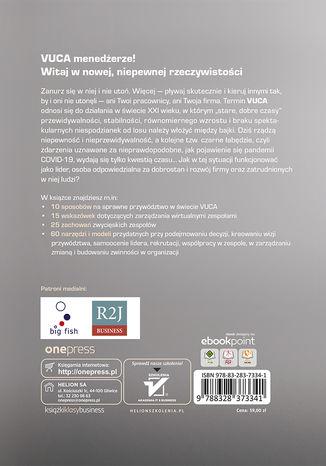 Tył okładki książki/ebooka Przywództwo w świecie VUCA. Jak być skutecznym liderem w niepewnym środowisku