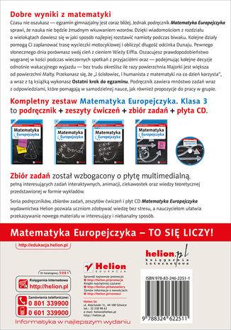 Tył okładki książki/ebooka Matematyka Europejczyka. Podręcznik dla gimnazjum. Klasa 3
