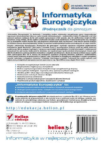 Tył okładki książki/ebooka Informatyka Europejczyka. iPodręcznik dla gimnazjum