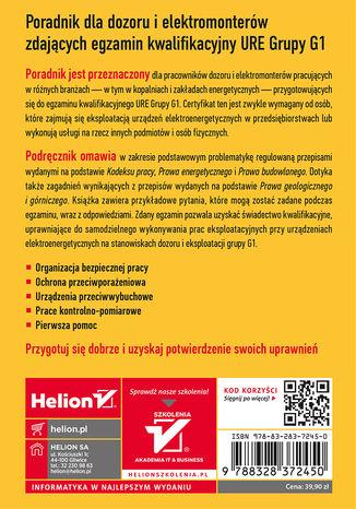 Tył okładki książki/ebooka Poradnik dla dozoru i elektromonterów zdających egzamin kwalifikacyjny URE Grupy G1