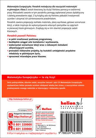 Tył okładki książki/ebooka Matematyka Europejczyka. Poradnik metodyczny dla nauczycieli matematyki w gimnazjum. Klasa 2