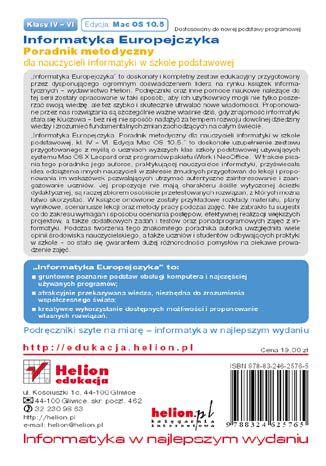 Tył okładki książki/ebooka Informatyka Europejczyka. Poradnik metodyczny dla nauczycieli informatyki w szkole podstawowej, kl. IV-VI. Edycja: Mac OS 10.5. Wydanie III