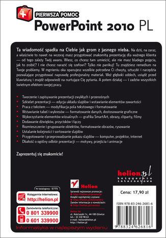 Tył okładki książki/ebooka PowerPoint 2010 PL. Pierwsza pomoc