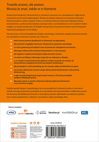 Tył okładki książki/ebooka Prawo w e-biznesie. Wszystko, co musisz wiedzieć, żeby prowadzić e-biznes i spać spokojnie
