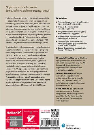 Tył okładki książki/ebooka Projektowanie frameworków w .NET. Wytyczne, konwencje, idiomy i wzorce. Wydanie III
