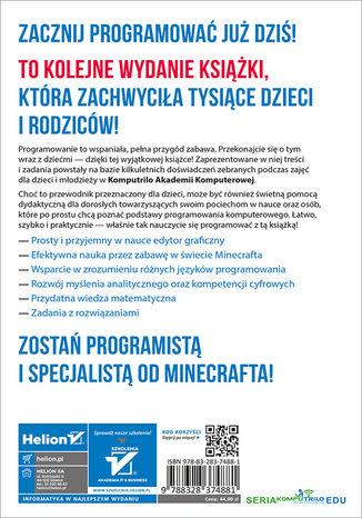 Tył okładki książki/ebooka Programowanie z Minecraftem dla dzieci. Poziom podstawowy. Wydanie II