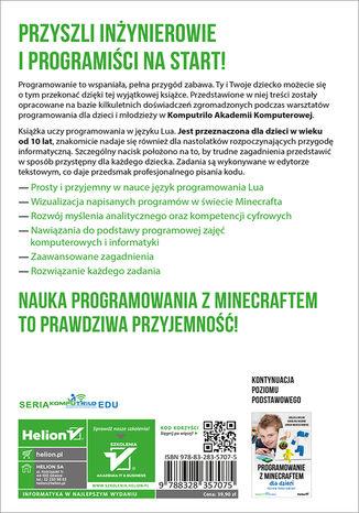 Tył okładki książki/ebooka Programowanie z Minecraftem dla dzieci. Poziom średnio zaawansowany
