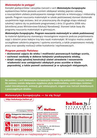 Tył okładki książki/ebooka Matematyka Europejczyka. Program nauczania matematyki w szkole podstawowej
