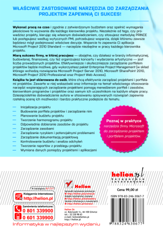 Tył okładki książki/ebooka MS Project 2010 i MS Project Server 2010. Efektywne zarządzanie projektem i portfelem projektów