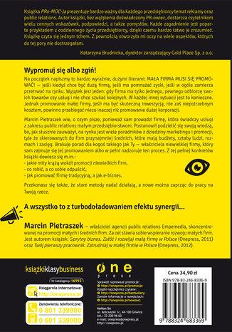 Tył okładki książki/ebooka PRo-MOC-ja. Reklama i public relations w małej firmie