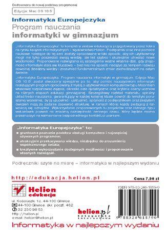 Tył okładki książki/ebooka Informatyka Europejczyka. Program nauczania informatyki w gimnazjum. Edycja Mac OS 10.5