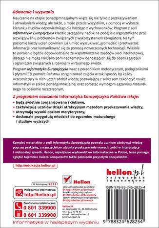 Tył okładki książki/ebooka Informatyka Europejczyka. Program nauczania informatyki w szkołach ponadgimnazjalnych. Zakres rozszerzony (Wydanie II)