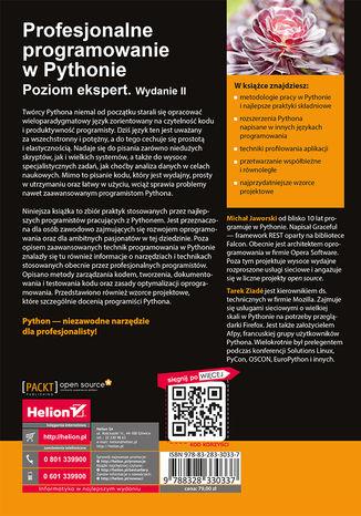 Tył okładki książki/ebooka Profesjonalne programowanie w Pythonie. Poziom ekspert. Wydanie II