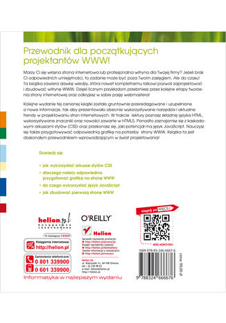 Tył okładki książki/ebooka Projektowanie stron internetowych. Przewodnik dla początkujących webmasterów po HTML5, CSS3 i grafice. Wydanie IV
