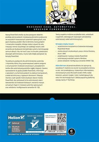 Tył okładki książki/ebooka PowerShell dla administratorów systemów. Prosta automatyzacja zadań